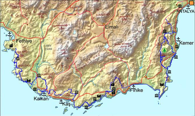 European 1950 Datum Equidistant Cylindrical Map:lycia